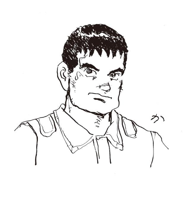 左手で描いたという角松洋介。これはこれでありではないかと思えてくるが、作者としてはそうもいかない様子。