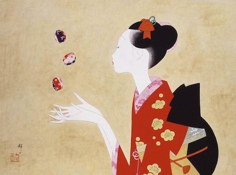 日本画「おてだま」1995年。