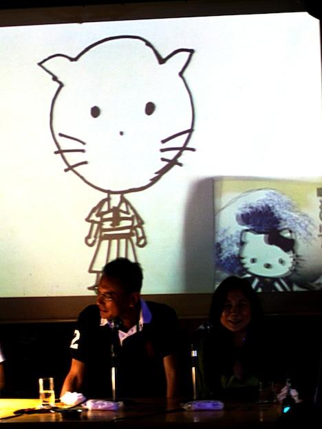 八巻氏が「最長不倒距離」と評した福本画「キティちゃん」。横に示された本物を見て福本はひと言「おお、似てるじゃんか」。会場は感動の涙に包まれた。