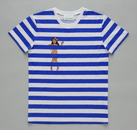 江古田ちゃんTシャツ表。胸元にはちょっぴり控えめに、でもやっぱり全裸の江古田ちゃんが。男女問わず、安心して着られるワンサイズ。(写真は見本です)