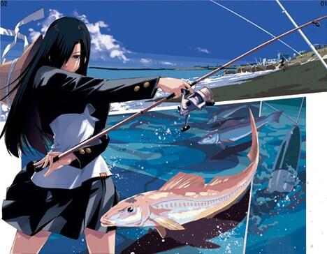 「釣りチチ・渚」イメージカット。見事に大物を釣り上げるヒロイン・渚。