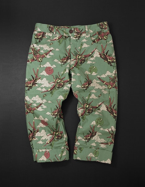Aerosmith Narancia Ghirga Cropped Pants[green]。パンツは丈夫でソフト感のある素材を使用、裾は6cm巾で2回ロールアップできる。