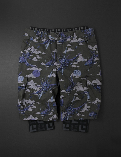 Aerosmith Narancia Ghirga Half Pants + 3/4 Leggings[black]。ハーフパンツにレギンスがセットされたレイヤードパンツ。