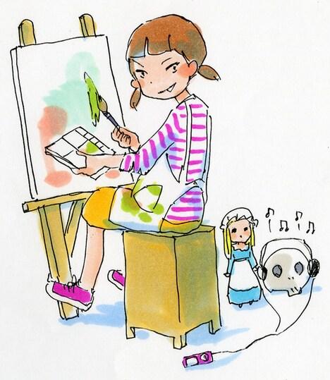 今日マチ子の新連載「ガールズ美術」カット。