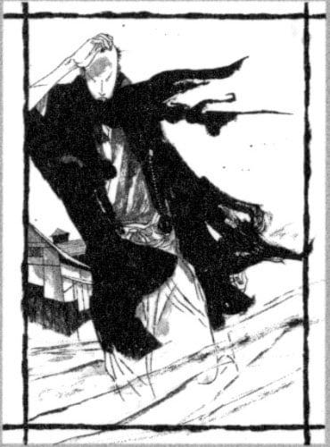 「竹光侍」8巻オビについた応募券で当たる特製ポスター。和紙独特の風合いがカッコいい。