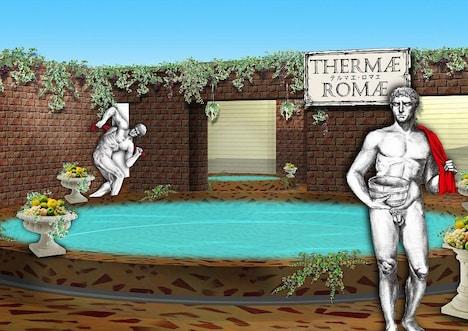 箱根小涌園ユネッサン「古代ローマ風呂」、ルシウス出現イメージ。(c)2009 Mari Yamazaki/PUBLISHED BY ENTERBRAIN, INC.