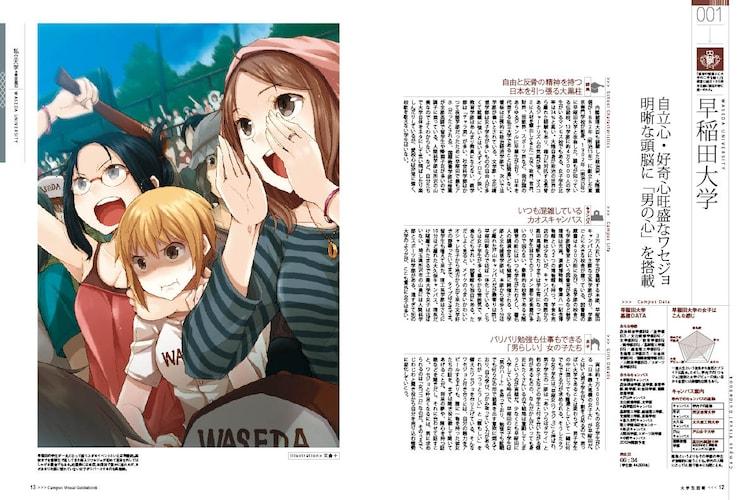 文倉十がイラストを担当した早稲田大学のページ。