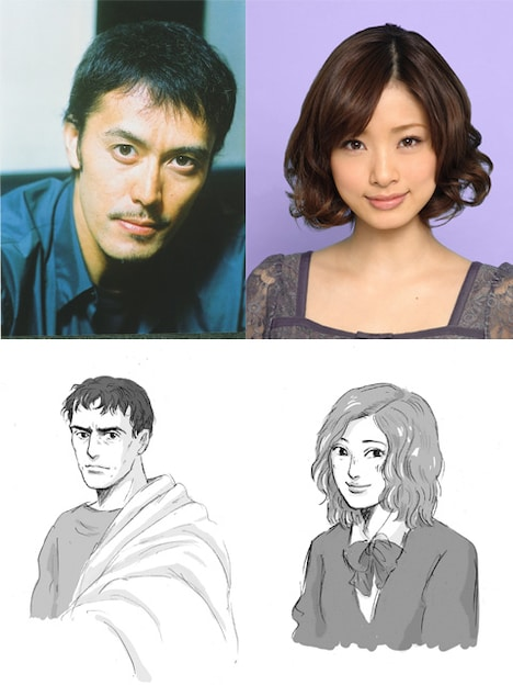ルシウス役を演じる阿部寛(左上)、ヒロイン役の上戸彩(右上)と、ヤマザキが2人をイメージして描き下ろしたイラスト(下)。