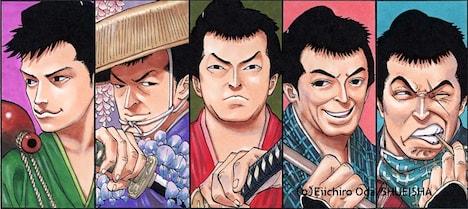 尾田栄一郎が描いた「次郎長三国志」のジャケットイラスト。左から小泉博、水島道太郎、小堀明男、河津清三郎、森繁久彌。(C)Eiichiro Oda / SHUEISHA