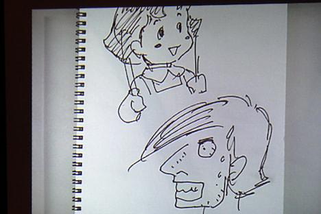 安彦良和作「カイジとハイジ」。「カイジ」は「ステッチ」入りの鼻、汗、前髪と、福本絵の特徴を見事に捉えている。