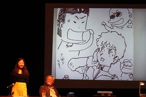 観客へのプレゼント用に描かれた合作イラスト。安彦による「ぶたれたアムロ」と、それを取り囲む西原の「ブライト」ら。