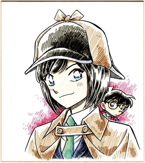 青山剛昌が執筆した前田敦子探偵。後ろにはひっそりとコナンの姿も。(C)青山剛昌/小学館