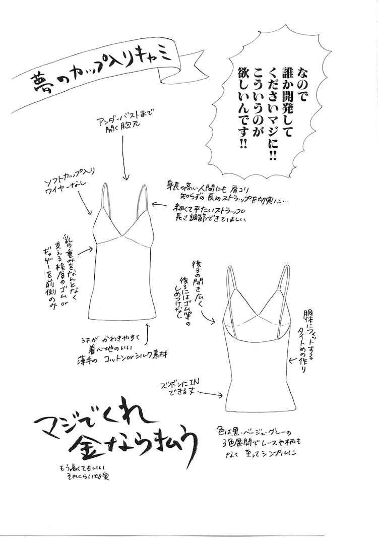 ヤマシタトモコが「裸で外には出られない」で描いた夢のブラカップ付きキャミソール。