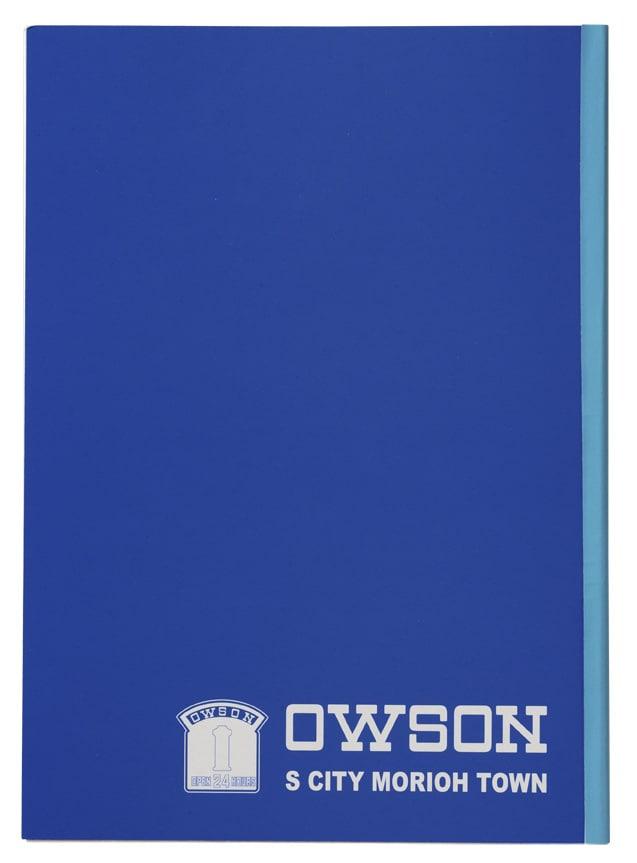 「OWSON オリジナルグッズセット」のオリジナルノート裏面。