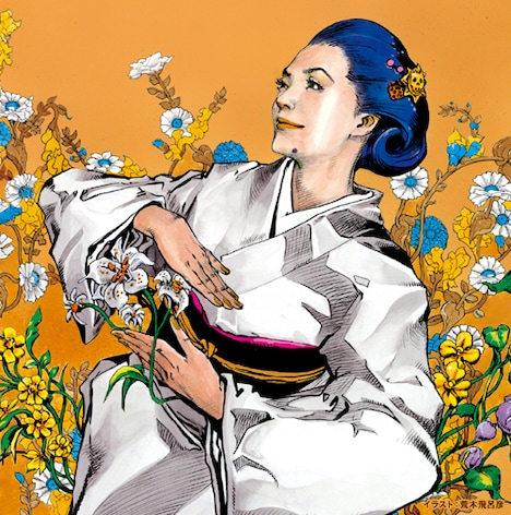 荒木飛呂彦描き下ろしによる、石川さゆりのアルバム「X‐Cross‐」のジャケットイラスト。