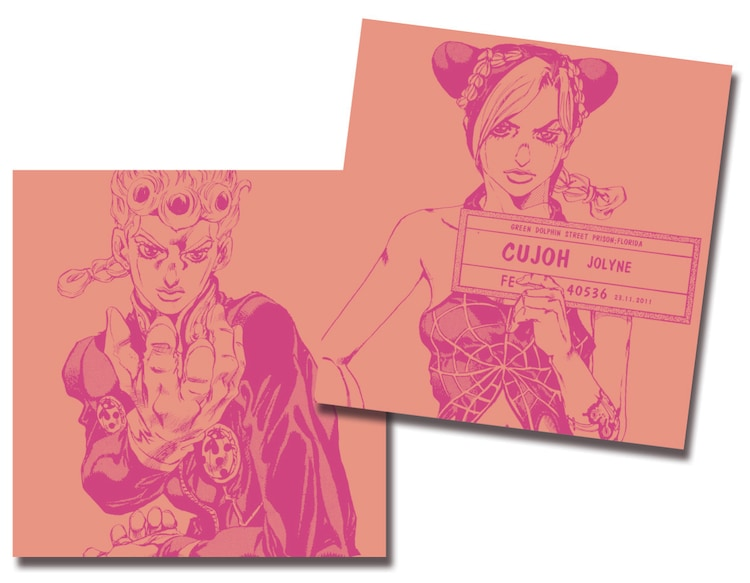 9月25日から29日まで配布されるジョルノ・ジョバァーナと空条徐倫が描かれたCDケース。