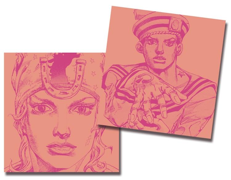 9月30日から10月4日まで配布されるジョニィ・ジョースターと東方定助が描かれたCDケース。