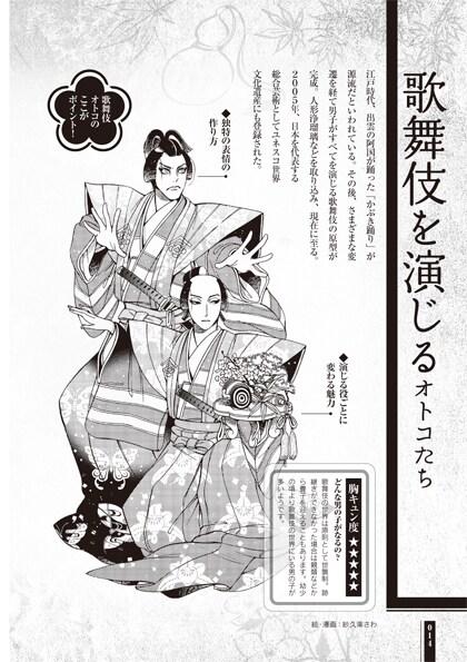 「うるわし大和男子」より、「歌舞伎を演じるオトコたち」の1ページ。イラスト・マンガ:紗久楽さわ