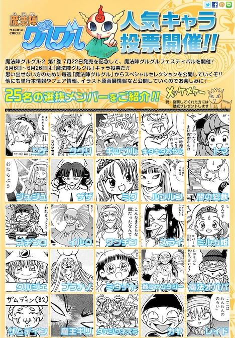 ガンガンONLINEより、「魔法陣グルグル」人気キャラクター投票のページ。