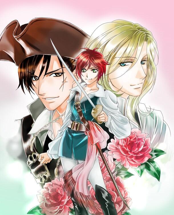 プリンセスGOLD9月号に掲載されている、氷栗優「プリンセス・レダリア~薔薇の海賊~」のカット。