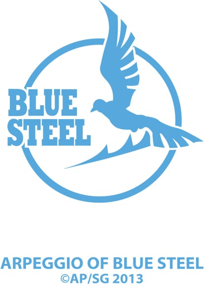Ark Performance「蒼き鋼のアルペジオ」の「BLUE STEELステッカー」。ステッカー2枚、ワッペン1枚のセットで2000円。