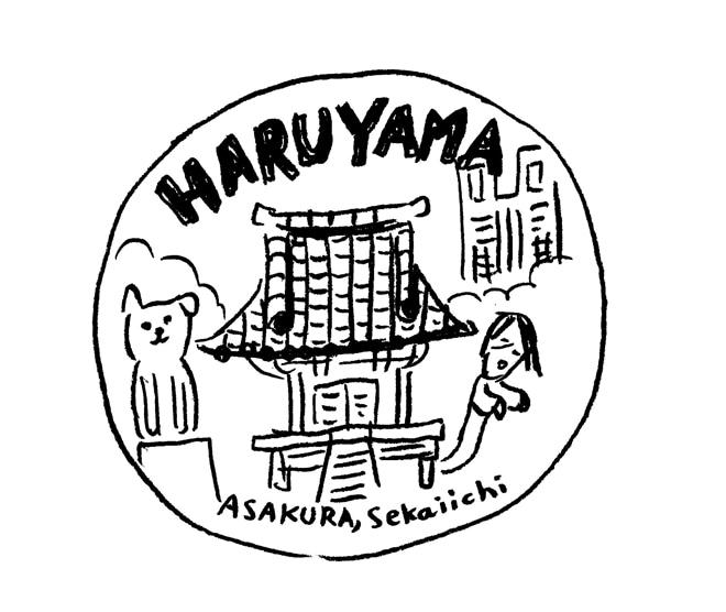 ワークショップで用意されている朝倉世界一描き下ろし、神社のイラスト。
