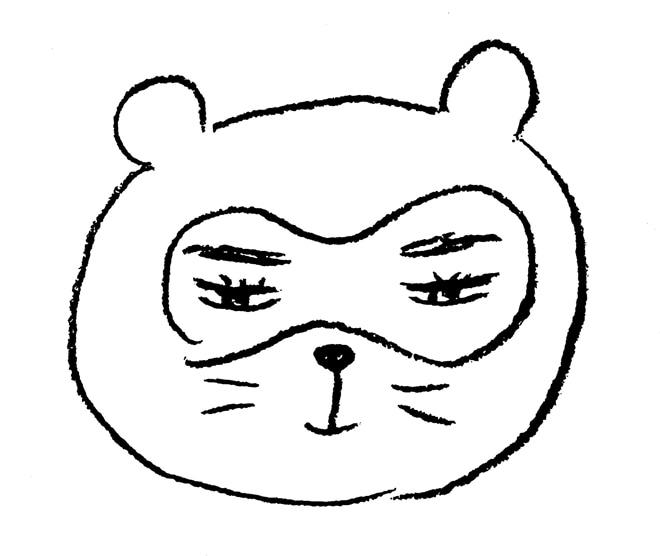 ワークショップで用意されている朝倉世界一描き下ろし、狸原のイラスト。