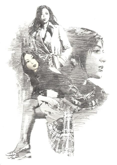 山田章博が執筆した、真山仁「ハーディ」の挿絵。