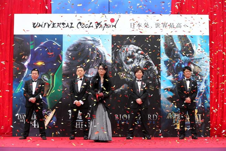 「ユニバーサル・クールジャパン」のオープニングセレモニーの様子。写真左より大月俊倫、和田丈嗣、HYDE、川田将央、辻本良三。