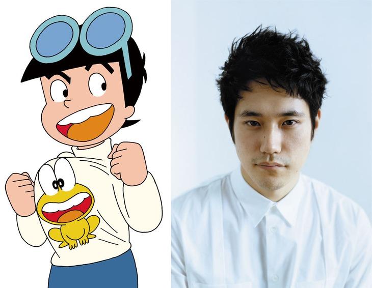 「ど根性ガエル」ひろし(左)と、松山ケンイチ(右)。 (c)吉沢やすみ/オフィス安井