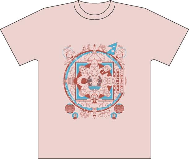 須藤真澄のイラストTシャツ「マンダーラ」ライトピンク