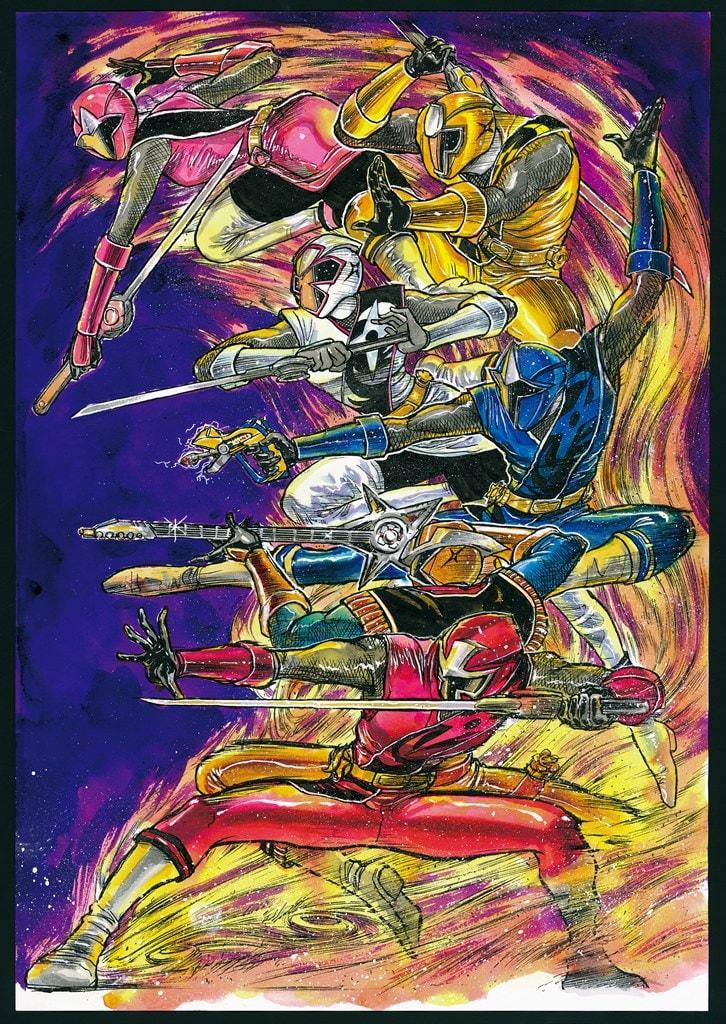 藤田和日郎が描いたニンニンジャーの6人。