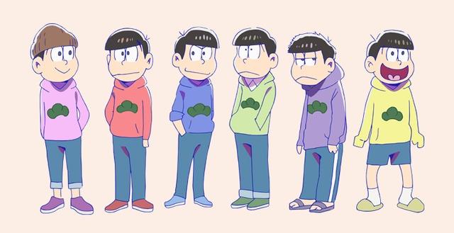 「松パーカー」を着た6つ子たち。左からトド松、おそ松、カラ松、チョロ松、一松、十四松。