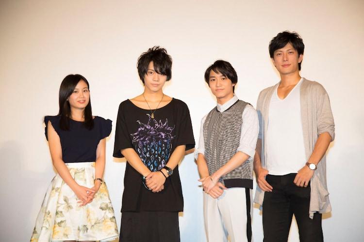 写真左より春野サクラ役の伊藤優衣、うちはサスケ役の佐藤流司、うずまきナルト役の松岡広大、はたけカカシ役の君沢ユウキ。