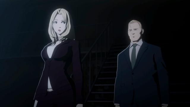 (左から)坂本真綾演じるマイヤーズ、森川智之演じるアルメイダ。