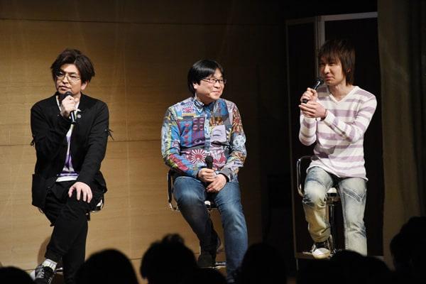 (左から)緑川光、高松信司、前野智昭。