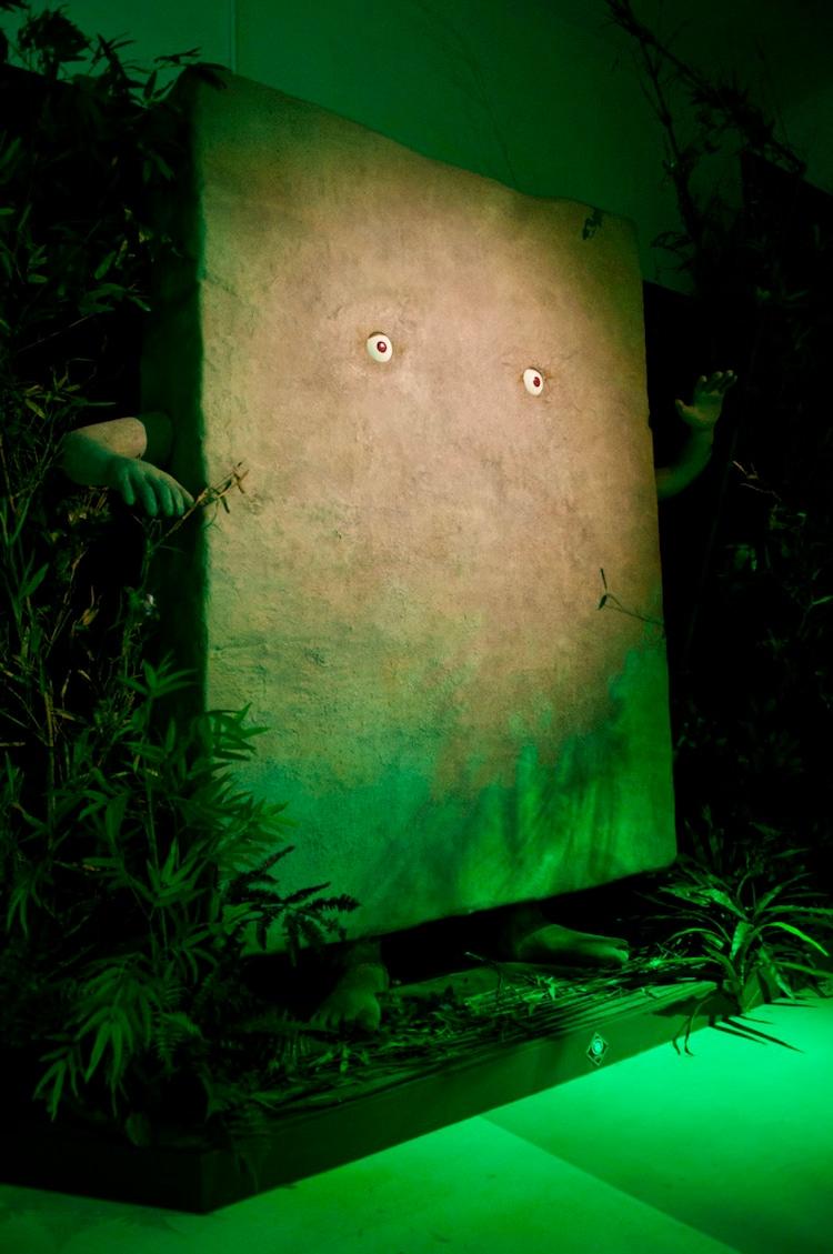 「妖怪の森」のぬりかべ。