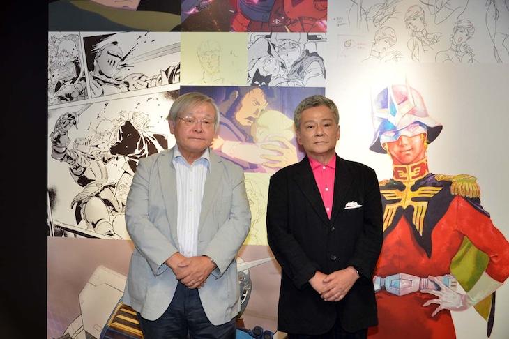 「GUNDAM PRODUCT ART 機動戦士ガンダム THE ORIGIN展」PRイベントより。左から安彦良和、池田秀一。