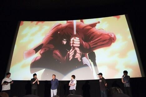会場の様子。左から中村悠一、内田直哉、斎賀みつき、鈴木健一監督、上田耕行プロデューサー。