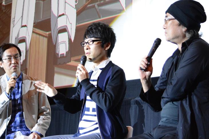 トークイベントの様子。左から司会進行の氷川竜介、吉浦康裕、出渕裕。