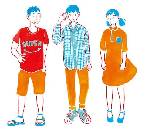 「ぼくのとなりにきみ」キャラクターイラスト。左からハセ、サク、近田さん。