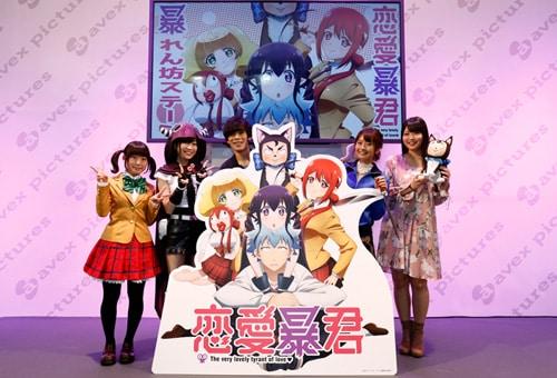 左から長野佑紀、青山吉能、小野賢章、沼倉愛美、大坪由佳。