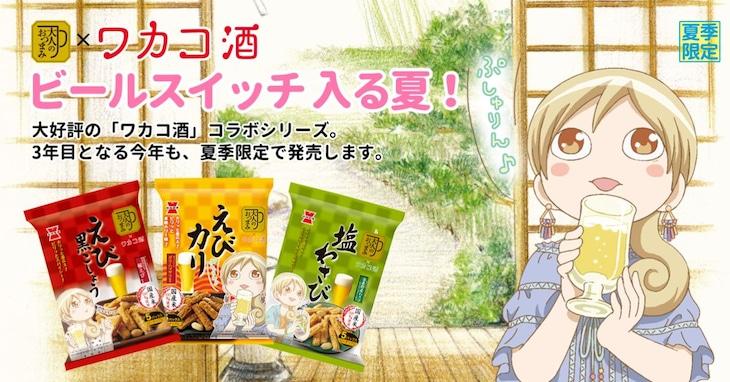 「ワカコ酒」×岩塚製菓「大人のおつまみシリーズ」コラボビジュアル