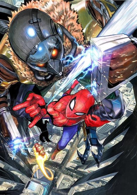 村田雄介の「スパイダーマン:ホームカミング」イラスト。(c)Marvel Studios 2017. (c)2017 CTMG. All Rights Reserved.