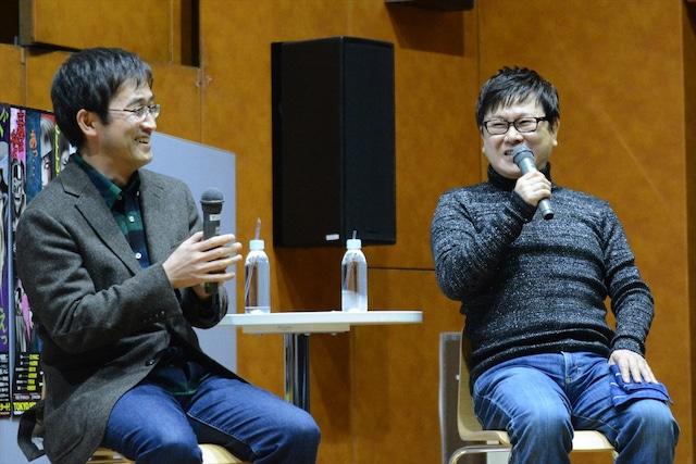 イベントの様子。左から伊藤潤二、三ツ矢雄二。