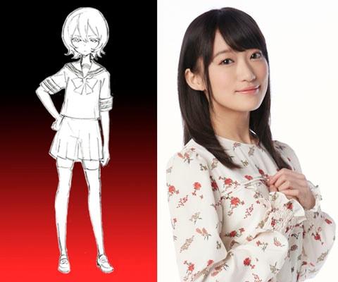 奴村露乃のデザインラフと、露乃を演じる茜屋日海夏。