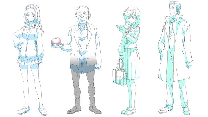 左からあけみ、はっさくおじさん、雪子、斉木の設定画。