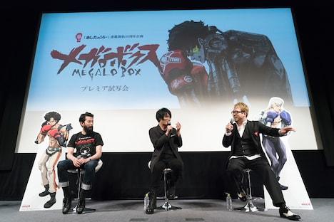 左から森山洋監督、細谷佳正、安元洋貴。