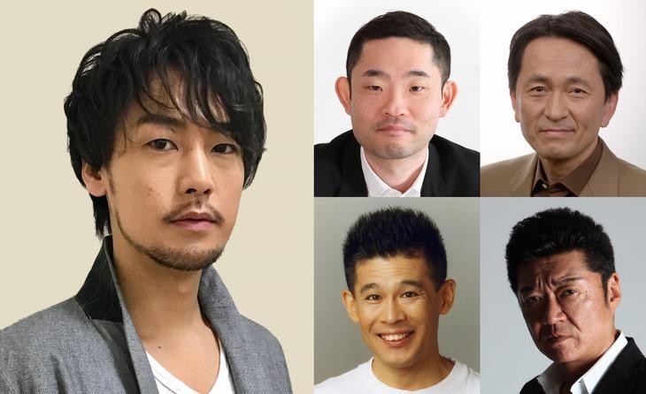 ドラマ「極道めし」のキャスト一覧。左から時計回りに、福士誠治、今野浩喜、徳井優、小沢仁志、柳沢慎吾。