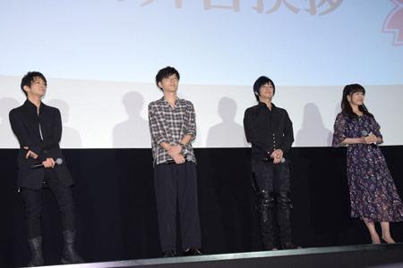 左から津田健次郎、櫻井孝宏、遊佐浩二、井上喜久子。